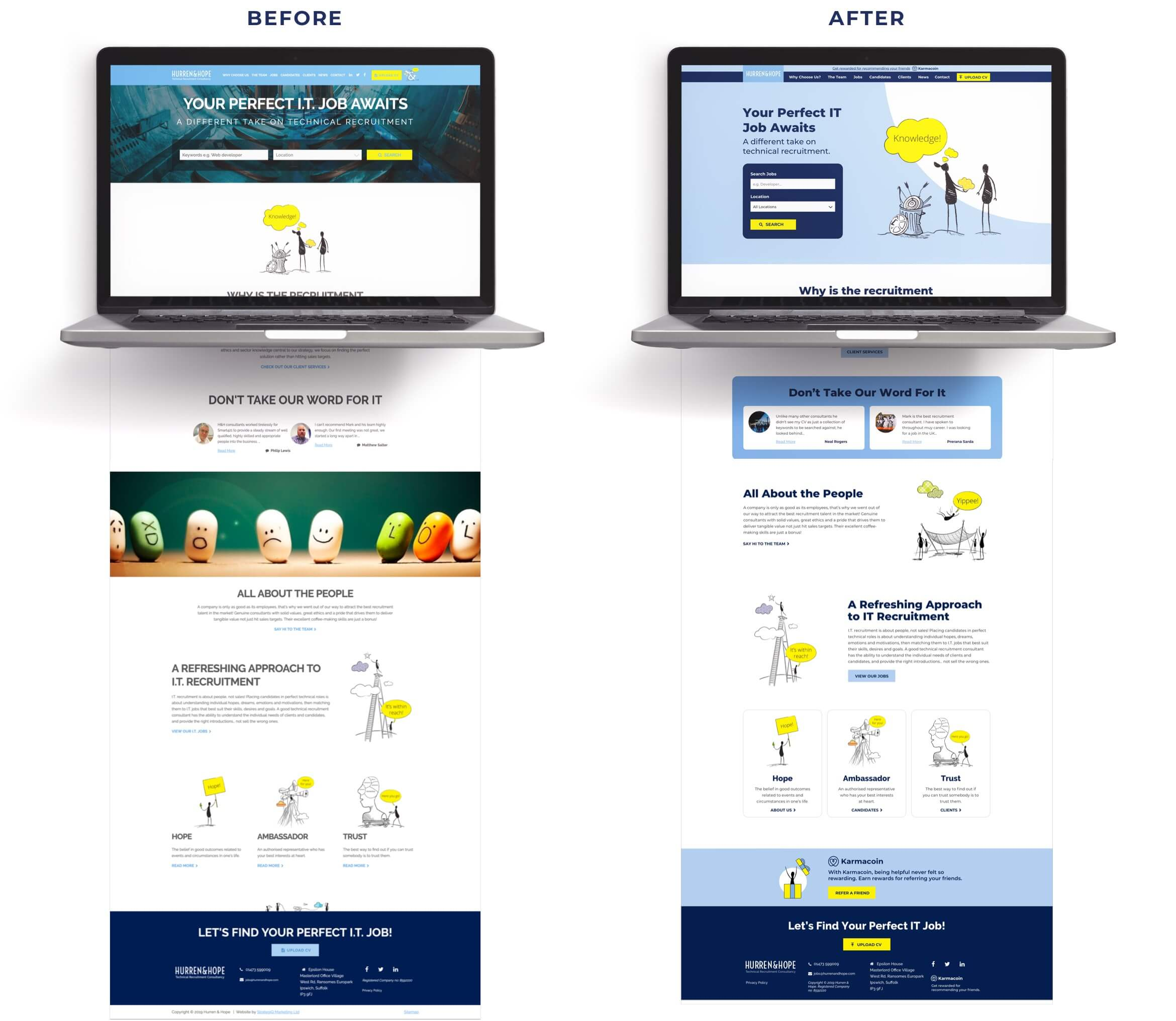 H&H website before and after