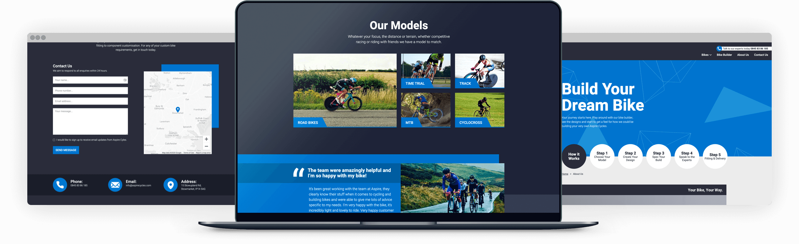 Aspire Cycles website on laptop